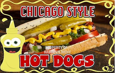 "Chicago Style Hot Dogs Decal 8"" HotDogs Concession Food Truck Van Vinyl Sticker"
