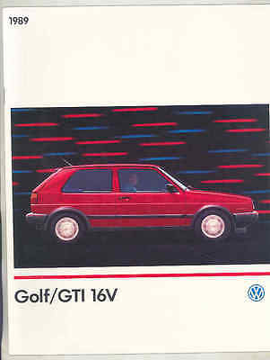 1989 Volkswagen Golf GTi 16V Brochure mx9078