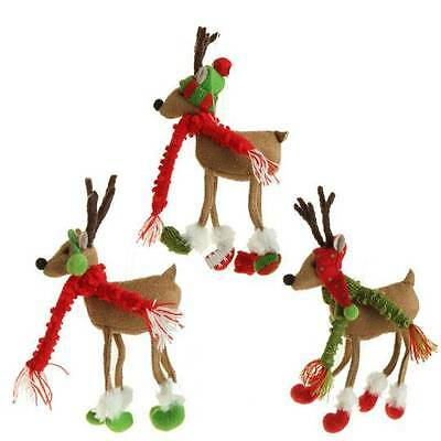 Reindeer Ornaments hats and scarf 8 inch polyester set of 3 hi 3329162 NEW RAZ