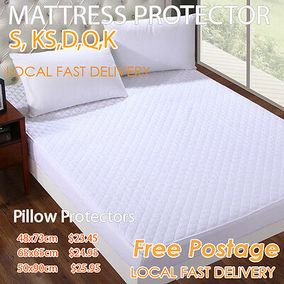 Fully Fitted 100% COTTON COVER MATTRESS/PILLOW PROTECTOR Aus Size Bed
