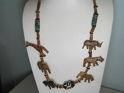 """Vintage African Animals Handcarved & Handpainted Wood Necklace 36"""""""