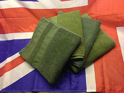 British Army Issue 120 x 55cm Green Hand Towel 100% Cotton - Single or Multipack
