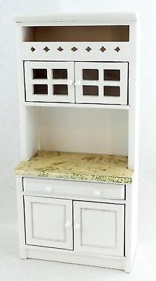 Melody Jane Dolls House Miniature Kitchen Fitted Shelf Unit White w/ Marble Top