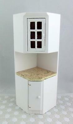 Melody Jane Dolls House Miniature Kitchen Fitted Corner Unit White w/ Marble Top