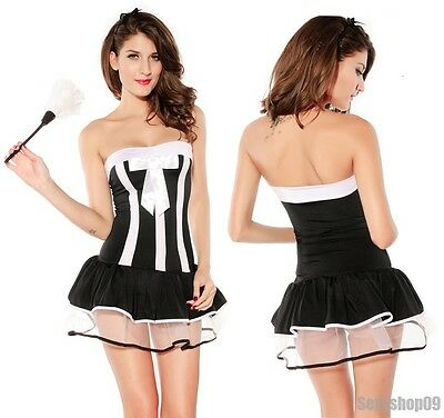 Sexy Lingerie French Maid Cosplay Halloween Costume Party TuTu Skirt Fancy Dress