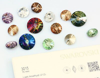 Genuine SWAROVSKI 3015 Round Crystal Buttons * Many Sizes & Colors