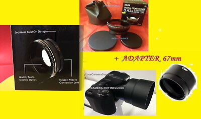 HD3 PRO 0.43x WIDE ANGLE LENS W/MACRO+ADAPTER for NIKON COOLPIX L330  L330 67mm