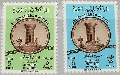 LIBYEN LIBYA 1961 107-08 207-08 Watchtower broken Chain Army Day Tag Armee MNH