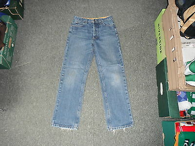 "Raw Edge Straight Leg Jeans Waist 27"" Leg 26"" Faded Dark Blue Boys 11Yrs Jeans"