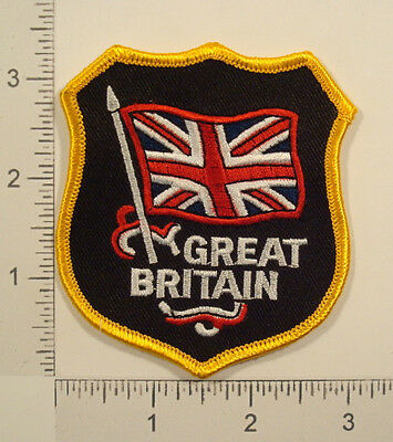 Waving GREAT BRITAIN FLAG Shield Embroidered PATCH
