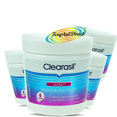 4x Clearasil Ultra Rapid Action Pads 65 Reduces And Cleanse Pore Spot & Redness