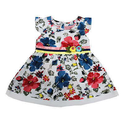 New Baby Girls Blue and Red Floral Cotton Party Dress 3-6,6-9,9-12 Months
