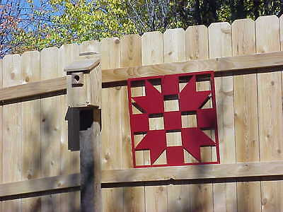 "Sister's Choice - Barn Quilt - Red Metal 12"" x 12"" Quilt Block Sign"