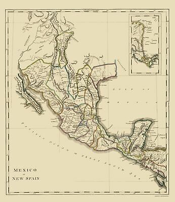 Old Mexico Map - New Spain or Mexico - Carey 1814 - 23 x 26.55
