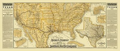 Old Railroad Map - Southern Pacific Railroads, Steamship Lines 1884 - 23 x 53