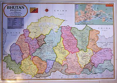 Large Laminated Map Of Bhutan Thimphu Flag