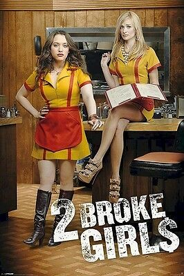 2 BROKE GIRLS ~ COUNTER 24x36 TV POSTER Kat Dennings Beth Behrs Two NEW/ROLLED!