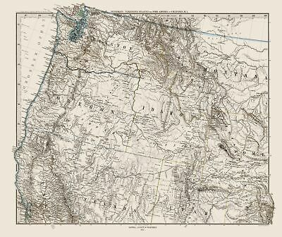Old State Map Northwest United States Petermann 1872 23 X