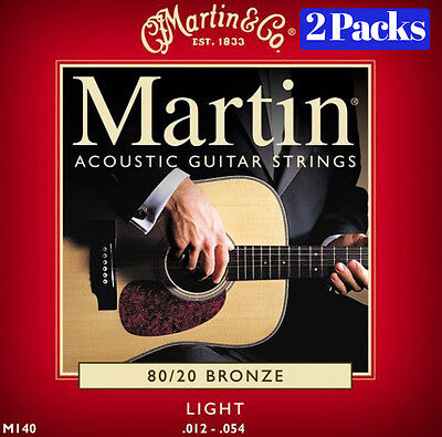Martin Acoustic M140 2 x Sets / Pack Light 12 -  54 Guitar Strings 80/20 Bronze