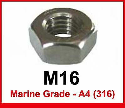 M16 Marine Grade Stainless Steel Full Nuts - 16mm A4/316 Hex Full Nuts x5
