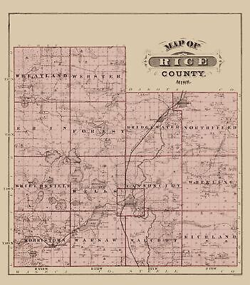 Old County Map - Rice Minnesota Landowner - Andreas 1874 - 23 x 26.23