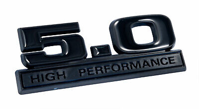 Two Tone Glossy /& Matte Black 5.0 High Performance Emblems Logo Badge Pair