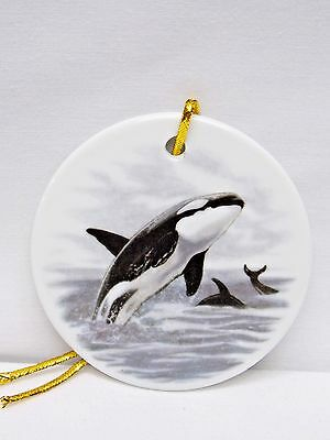 Orca Whale 3 Inch Porcelain Christmas Tree Ornament Fired Scene Decal