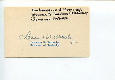 Lawrence Wetherby Governor of Kentucky Signed Autograph