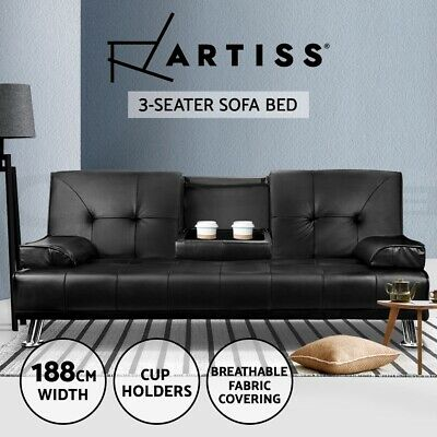 PU Leather 3 Three Seater Sofa Bed Mattress Futon Couch 2 Cup Holder Black