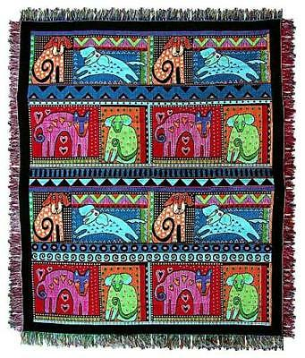 Laurel Burch Mythical Dog & Doggies Afghan Tapestry Throw Blanket NWT