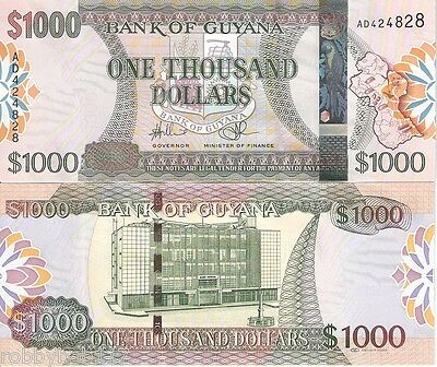 GUYANA 1000 Dollar Banknote World Money Currency South America BILL 2011 Sign 14