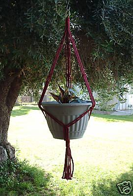 MACRAME PLANT HANGER 35in SIMPLE 3-ARM 6mm - CRANBERRY