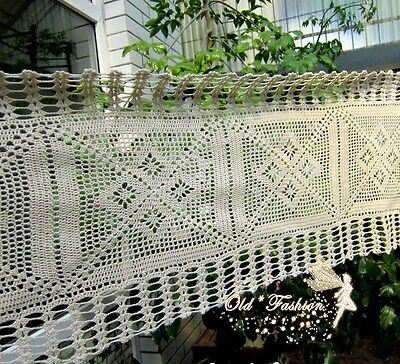 Vintage Look Hand Crochet Table Runner/Cafe Curtain~Beige/Ecru~Country Cottage~