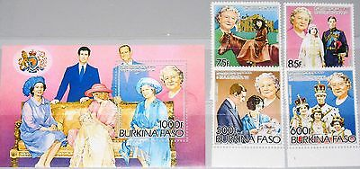 BURKINA FASO 1985 1012-15 Block 95 A 703-7 Queen Mother 85th Birthday Royals MNH