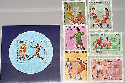 BURKINA FASO 1985 988-94 Block 94 681-88 Soccer World Cup Mexico Fußball WM MNH