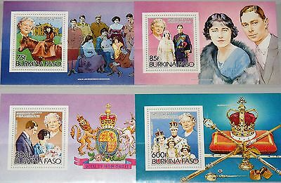 BURKINA FASO 1985 Block 96-99 Queen Mother 85th Birthday Royal Family MNH