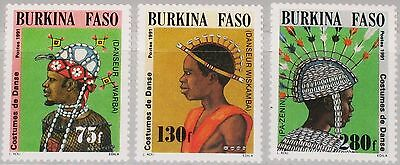 BURKINA FASO 1991 1257-59 931-33 Traditional Dance Costumes Tanzkostüme MNH