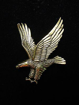 """JJ"" Jonette Jewelry Antique Gold Pewter American EAGLE Patriotic Pin"