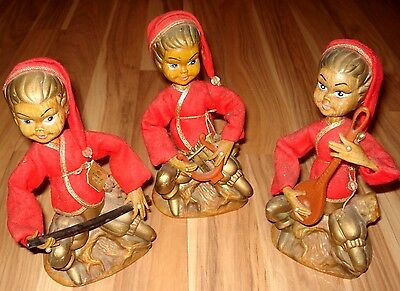 """VINTAGE SET OF 3 GOLDEN FANTASY TILSO CHRISTMAS FIGURINE HAND PAINTED 7.5"""" TALL"""