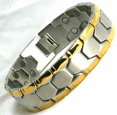 Chunky Mens Ultimate 32 Magnets Bio Magnetic Bracelet Gold  Design   (SB27)