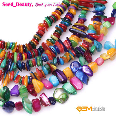 "Natual Shell Chips Beads Top Drilled For Jewelry Making 34""/15"" Freeform Dyed"