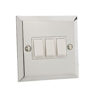 British General Chrome 10A Triple 3 Gang 2 Way Light Plate Switch White Inserts