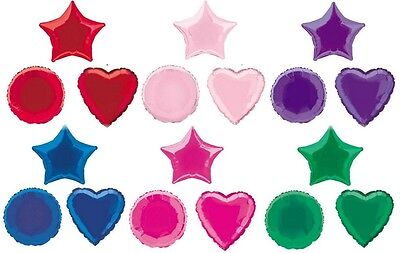 Foil Balloon Star Heart Round Shapes 17 COLOURS Helium  BALLOONS WITH RIBBONS