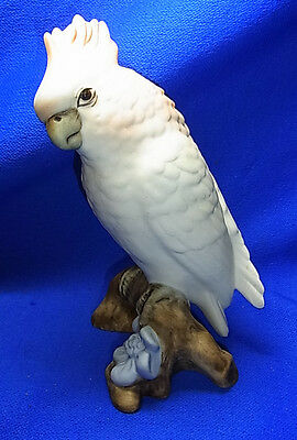 Vintage Czech Royal Dux Porcelain Cockatoo Figurine #^