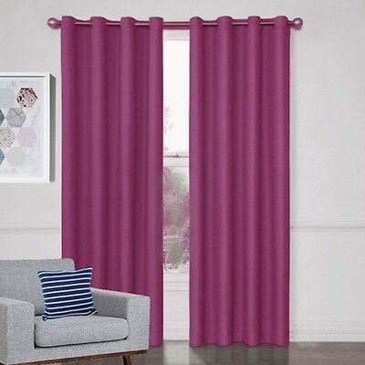 WESTWOOD 100% BLOCKOUT 3 PASS COATED EYELET CURTAIN PAIR Pink