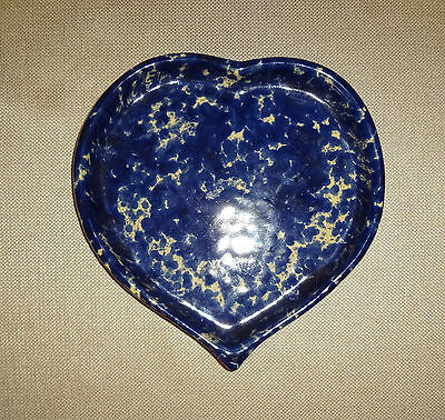 Vintage Bennington Potter's 1950 d Blue Spattered Candy Dish Jewelry Tray