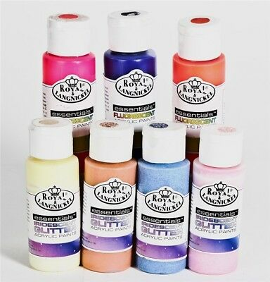 Fluorescent Metallic Glitter Pearl Translucent Acrylic Artists Paints. 48 colors