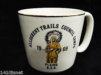 Vintage Boy Scout Mug Allegheny Trails Council Camps 1969 Excellent
