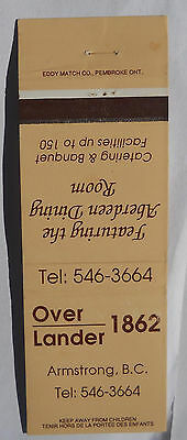 Over Lander 1862 Dining Armstrong BC Matchcover 102313