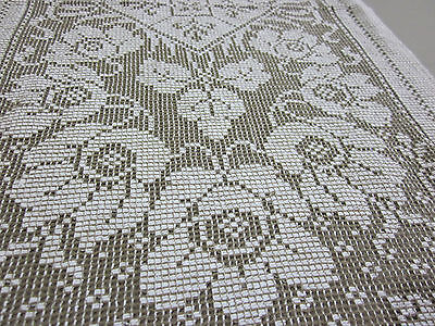 Lovely Vintage Floral Rose Lace Table Runner 14X30